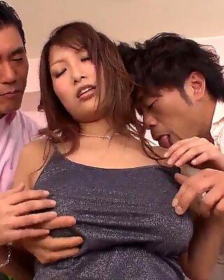 Busty Yume Mizuki Working On Two Hard Dicks