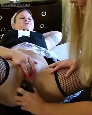 Fat blonde lesbian maid with her slim girlfriend