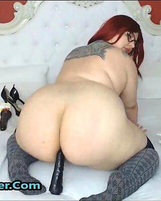 BBC Dildo In Ass Makes Hairy BBW Redhead Squirt
