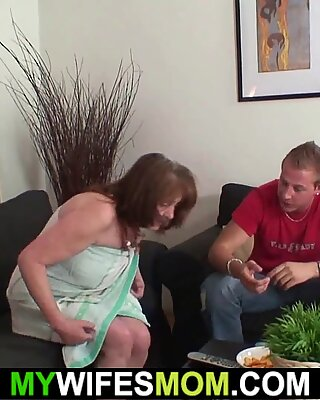 Busty mother inlaw forced to suck and ride his cock