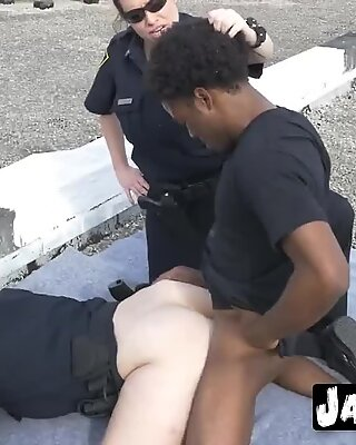 Interracial threesome outdoors with a black dude with massive cock and two horny cops with fat asses