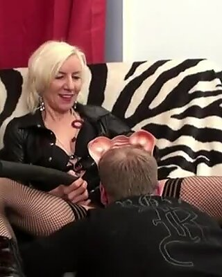Hot granny Charlie fucked in stockings