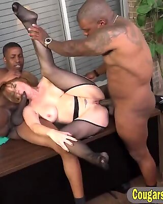 Interracial spit roasted office MILF