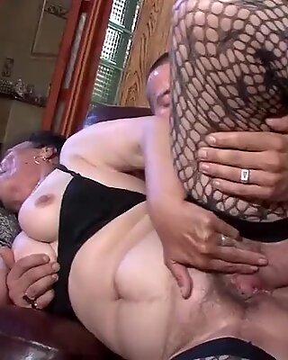 Old granny blowjob, anal and facial