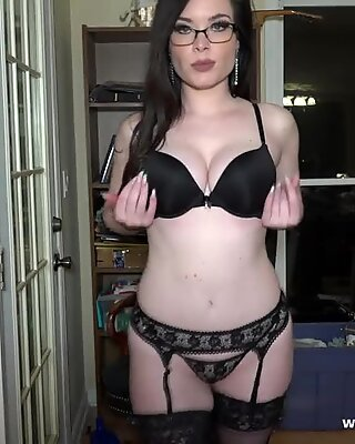 Librarian underwear undress tease
