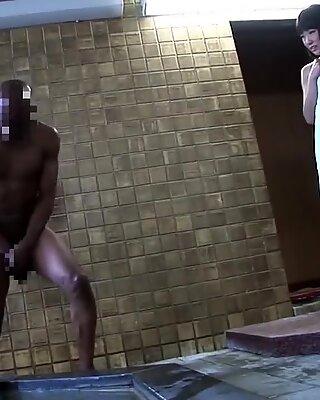 JAV dark-hued schoolgirl combined bathing interracial blowjob Subtitles