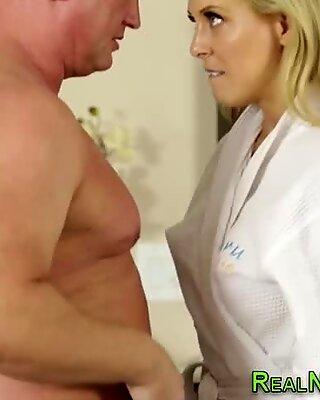 Massage therapist jizzed